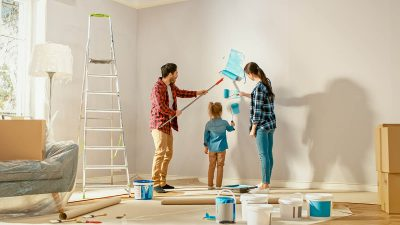 Young family making home improvements in lockdown